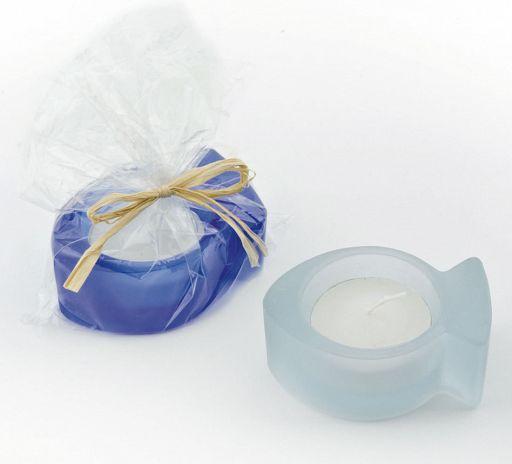 Teelicht Fisch hellblau