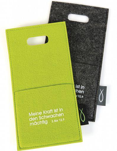 Filz-Ladetasche für Smartphone/Handy in kiwigrün