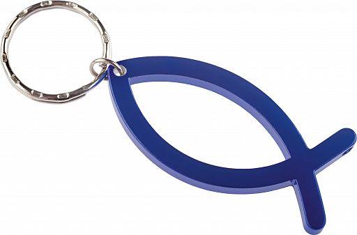 Schlüsselanhänger Fisch, Alu blau