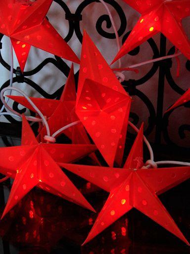 10erSet Ministerne aus Batikpapier, rot für Lichterkette