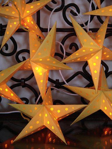 10erSet Ministerne aus Batikpapier, orange für Lichterkette