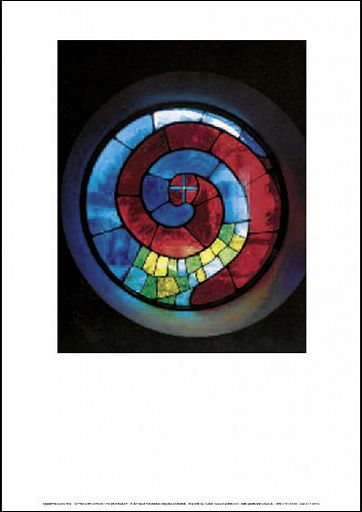 Einlegeblatt Glasfenster-Hundertwasser