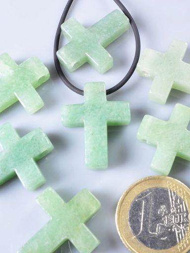 Steinanhänger Kreuz, Aventurin grün