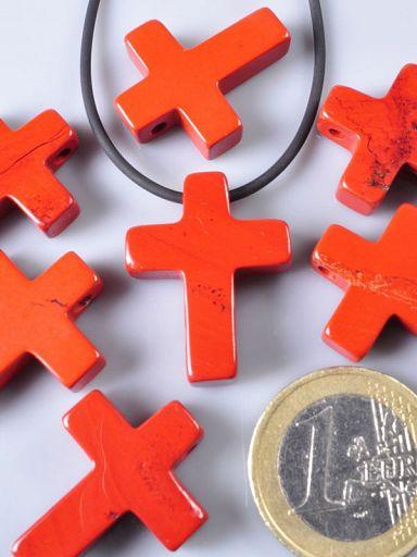 Steinanhänger Kreuz, Jaspis rot