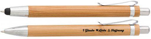 Schreibset Bambus - Glaube, Liebe, Hoffnung
