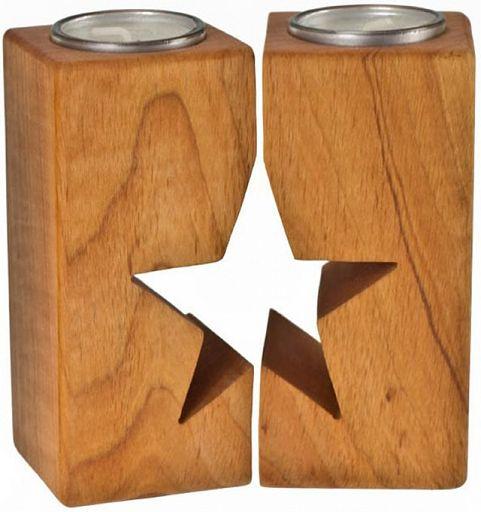 Teelichthalter Stern, Erle 2-teilig
