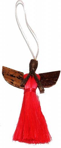 Sisal-Bananenblatt-Anhänger, Engel, rot