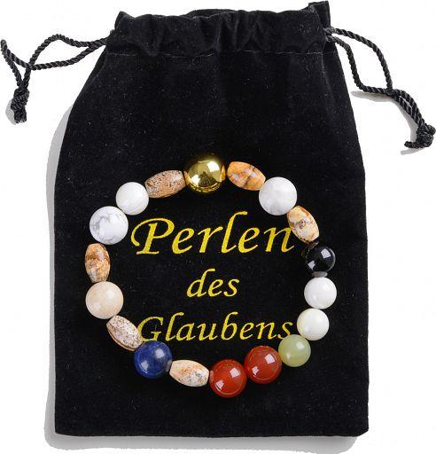 Perlen des Glaubens aus Stein, Edelausführung, mit Broschüre