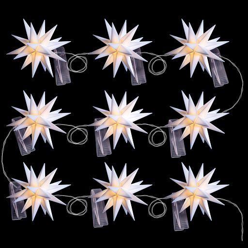 Leuchtsterne - Baby-Sternenkette  8cm weiss