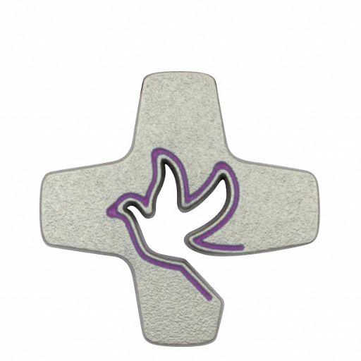 Pin Tauben-Kreuz lila