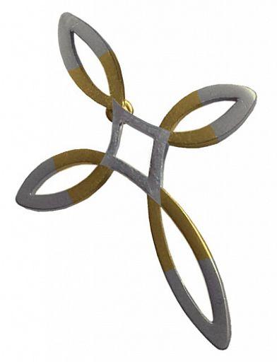 Anstecker Ichthys-Kreuz Pin, diamanten