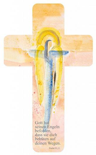 Verteilkreuz Engel mit Text, aus Pappe