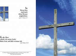 Birnbacher Karten: Trauerkarte, Holzkreuz