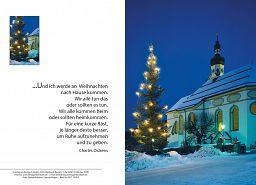 Weihnachtskarte Kirche, Charles Dickens