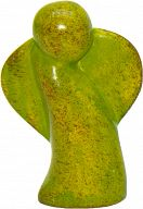 Engel schwebend aus Speckstein, grün-rot, fair produziert