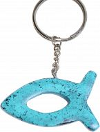 Speckstein-Schlüsselanhänger Fisch, hellblau