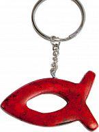 Speckstein-Schlüsselanhänger Fisch, rot