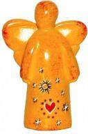 Speckstein-Engel mit Herz und Sternen, gelb