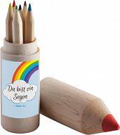 Stiftebox aus Holz, mit Buntstiften