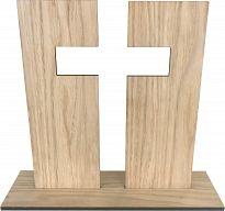 Standkreuz aus Holz, Eiche, 21 cm hoch