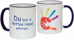 """Tasse """"Du bist In Gottes Hand geborgen"""", blau mit Hand"""