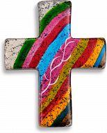 Kreuz handbemalt & Fairtrade - Regenbogenfarben