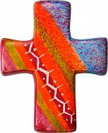 Kreuz handbemalt & Fairtrade - Rottöne
