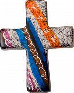 Kreuz handbemalt & Fairtrade - Blau-grau