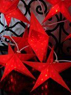 10erSet Ministerne rot für Lichterkette, aus Batikpapier