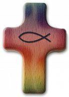 Handschmeichler Kreuz Fisch und Regenbogen