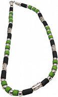 Kette, Halskette mit Perlen grün/schwarz