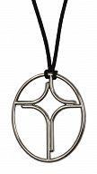 Anhänger oval Profil-Kreuz