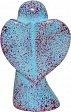 Engel schwebend aus Speckstein, hellblau - rot, fair produziert