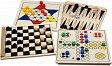 Holz Spielesammlung, 5 Spiele in Holzbox