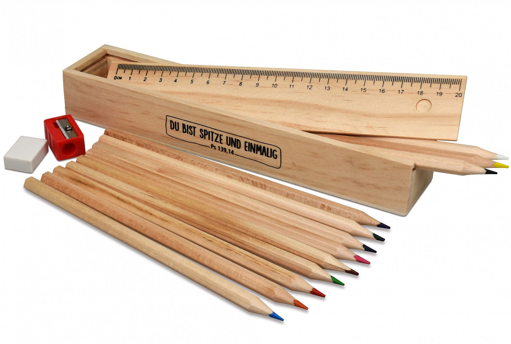 naturbelassen Holzbox mit 8 Buntstifte Deckel  mit Lineal