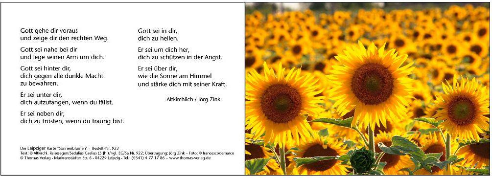Leipziger Karte Sonnenblumen Leipziger Karte Segen Gebete